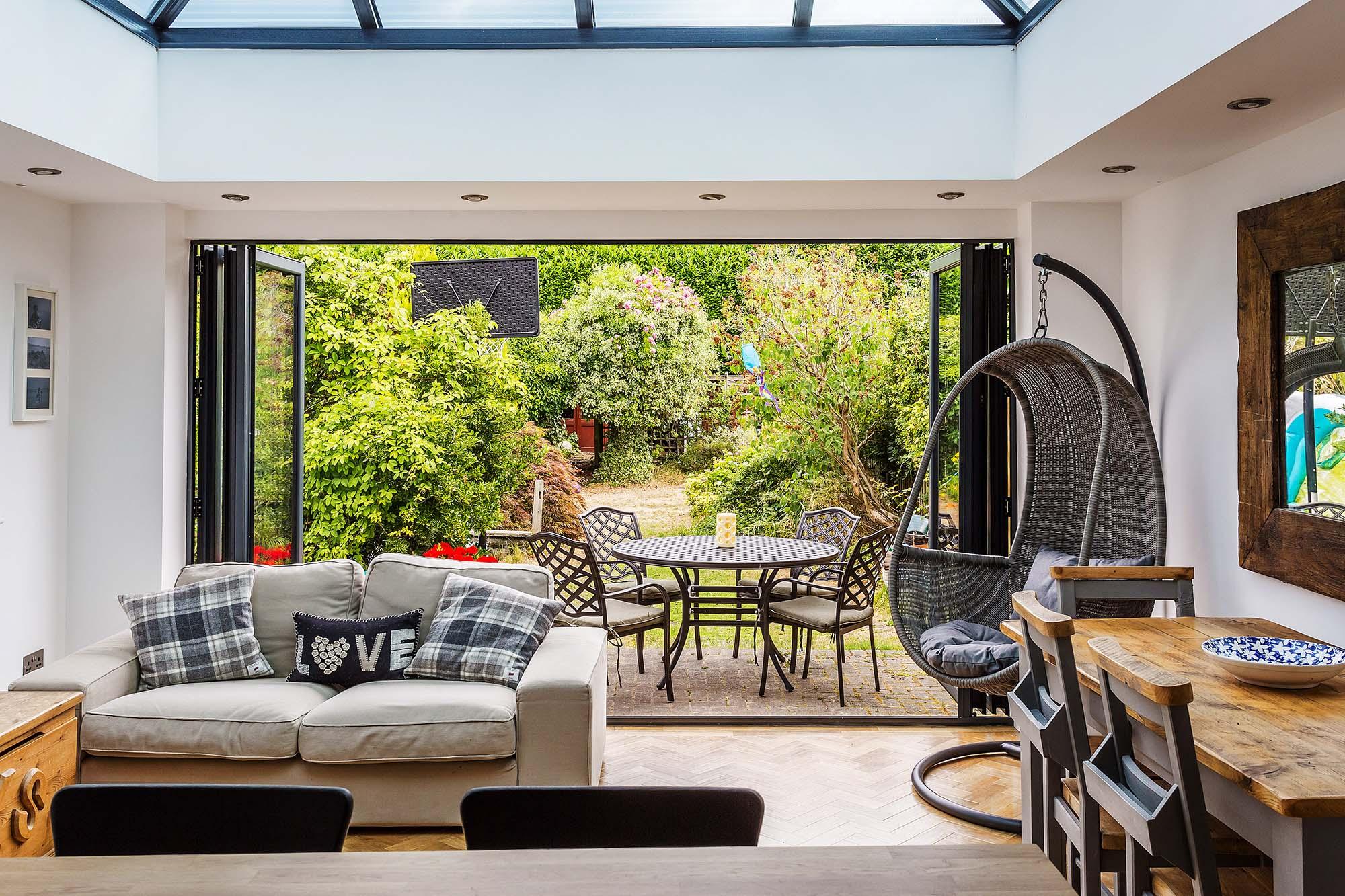 Bif Fold Doors in a conservatory Surrey