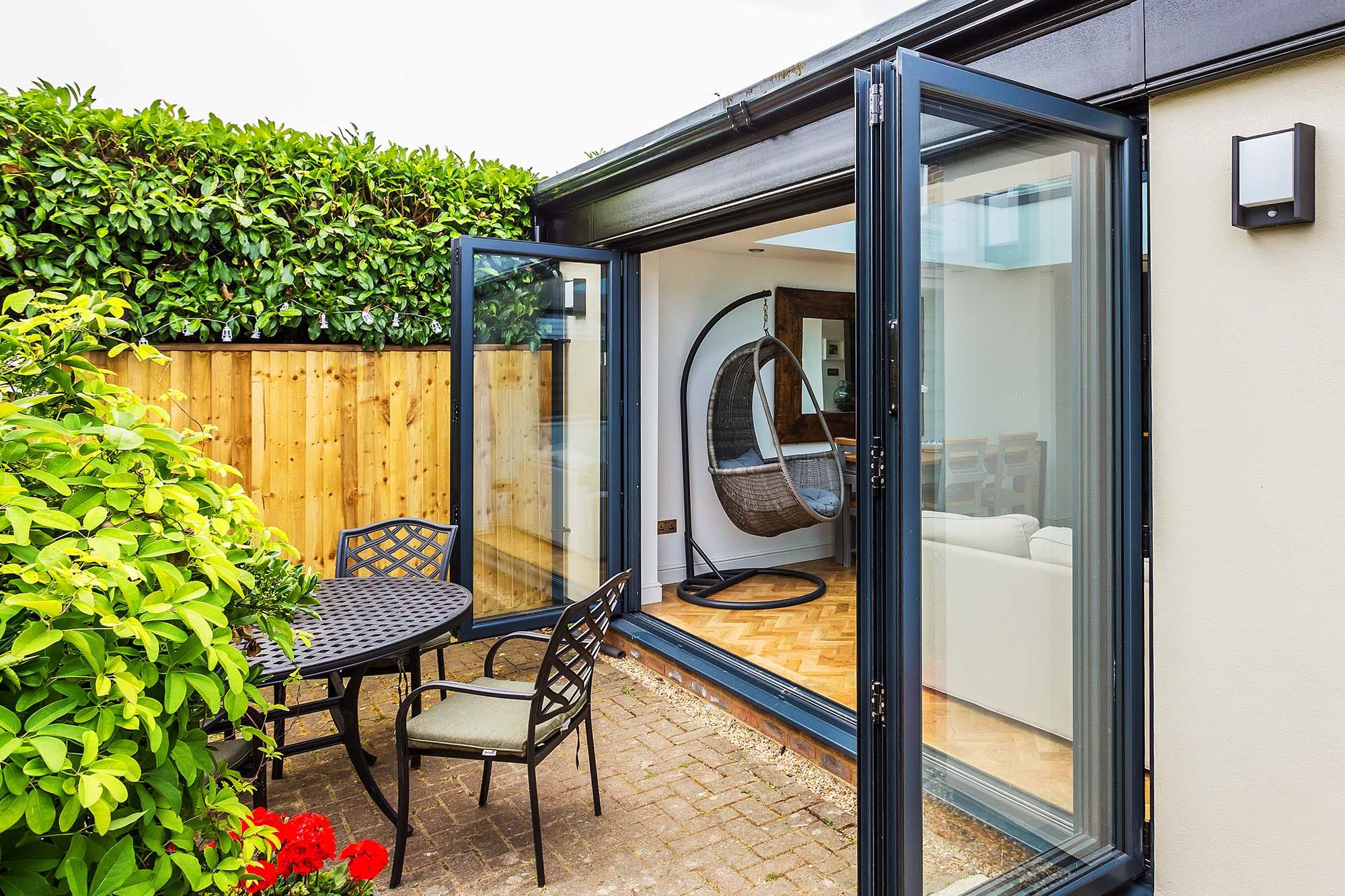 conservatory with bi-fold doors