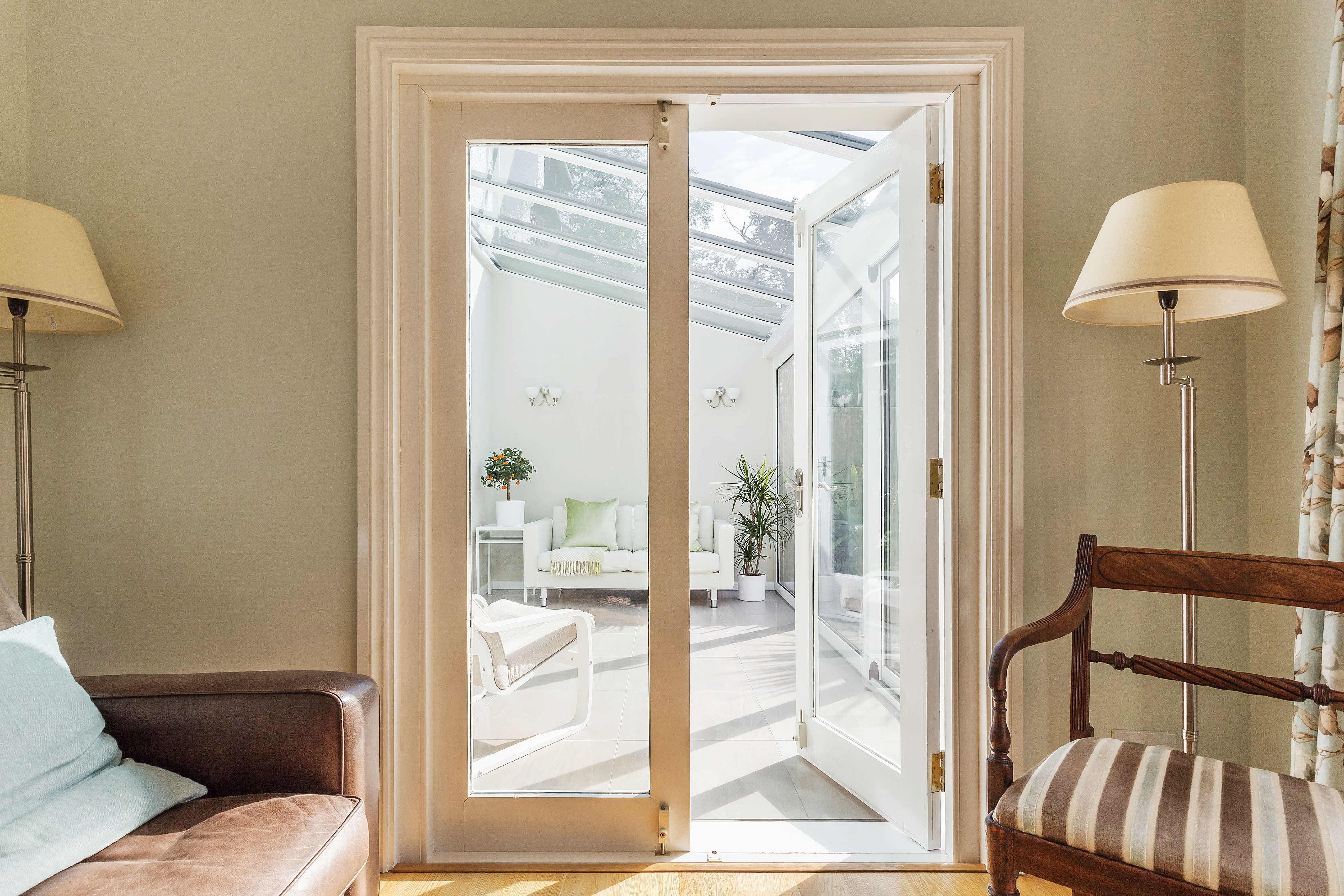 lean-to conservatory with French Doors purley